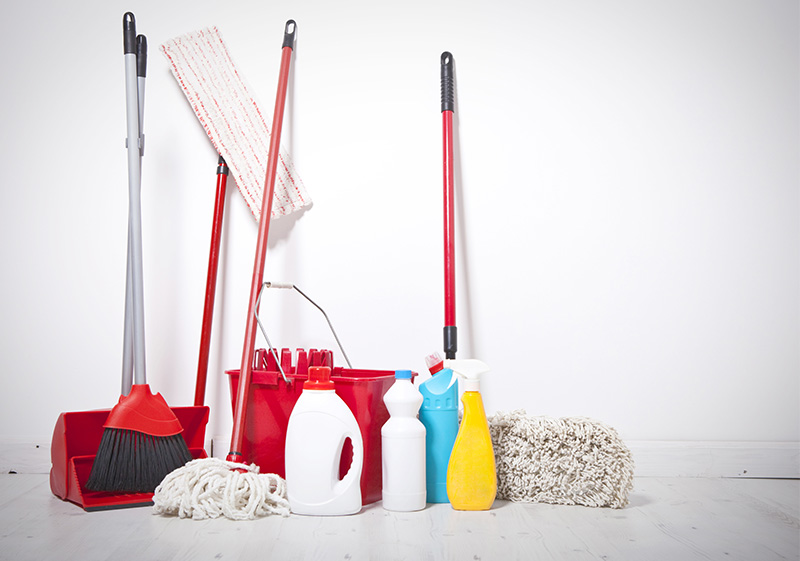 Mops and buckets for cleaning